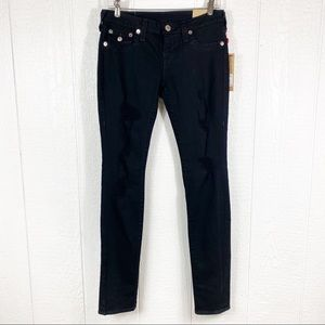 NEW True Religion Black Skinny Denim Blue Jeans 27